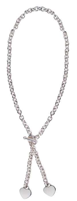 Sterling silver twin heart pendant necklace with t bar clasp sterling silver twin heart pendant necklace with t bar clasp aloadofball Images