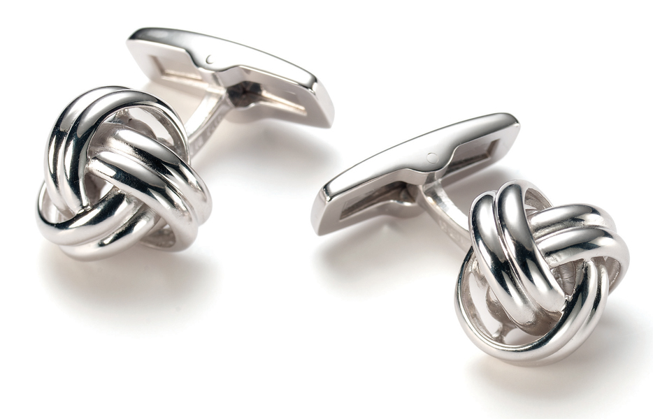 Sterling Silver Classic Knot Cufflinks Silver Direct
