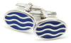 Sterling Silver Nautical Wave Cufflinks