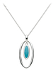 Sterling Silver & Turquoise Oval Pendant With Chain