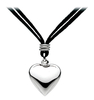Sterling Silver Bulbous Heart Necklace With Suede Strap