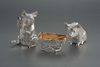 Sterling Silver & Gold Pig Family Condiment Set
