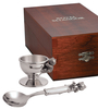 Pewter Egg Cup & Spoon Set In Presentation Case