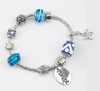 Silver Plated Blue Bead Bracelet