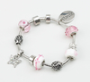 Silver Plated Pink Bead Bracelet